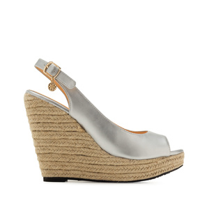 Jute Wedges in Silver faux Leather