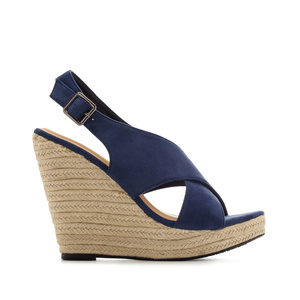 Cross-band Jute Wedges in Blue Suede