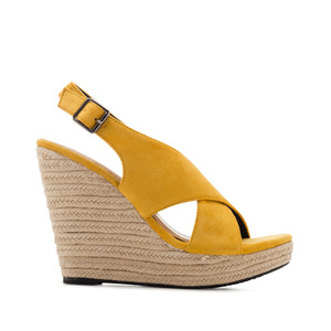 Cross-band Jute Wedges in Mustard Suede