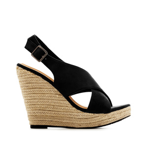 Cross-band Jute Wedges in Black Suede
