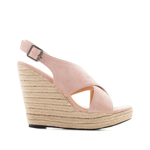 Cross-band Jute Wedges in Rose Suede