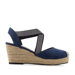 Criss-cross Espadrilles in Deep Blue Suede