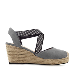 Criss-cross Espadrilles in Grey Suede