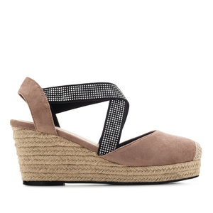 Criss-cross Espadrilles in Nude Suede
