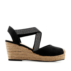 Criss-cross Espadrilles in Black Suede