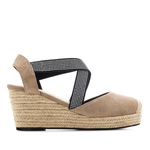 Criss-cross Espadrilles in Earth-coloured Suede