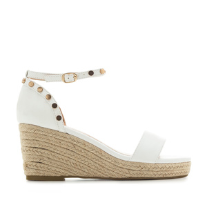 Ankle-Tie Wedges in White engraved faux Leather