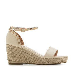 Ankle-Tie Wedges in Cream engraved faux Leather