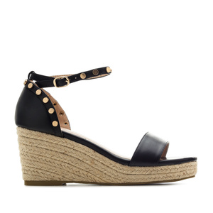 Ankle-Tie Wedges in Black engraved faux Leather