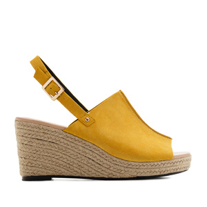 Slingback Wedges in Mustard Suede
