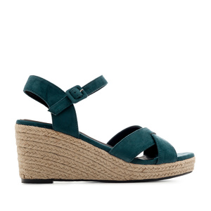 Criss-cross Wedge Sandals in Deep Blue Suede