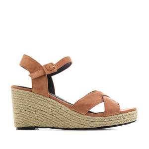 Criss-cross Wedge Sandals in Coral Suede