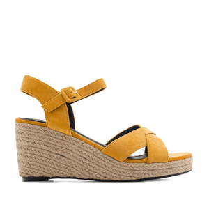 Criss-cross Wedge Sandals in Mustard Suede
