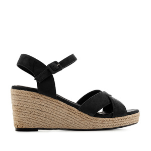 Criss-cross Wedge Sandals in Black Suede
