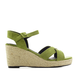 Criss-cross Wedge Sandals in Green Suede