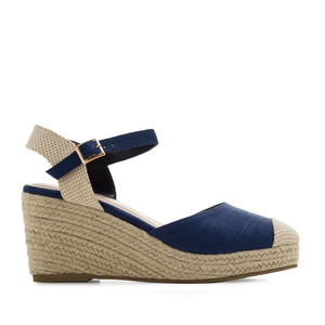 Toe-Cap Wedges in Deep Blue Canvas