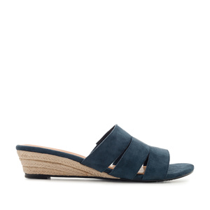 Low-Heeled Espadrille Sandals in Blue Suede