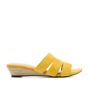 Low-Heeled Espadrille Sandals in Mustard Suede