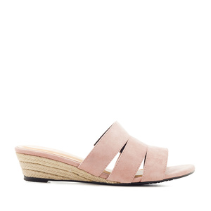 Low-Heeled Espadrille Sandals in Pink Suede