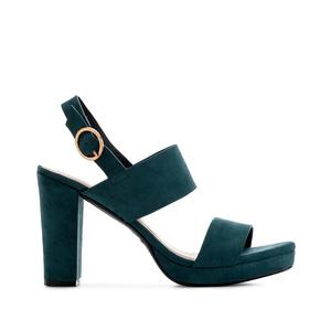 Block Sandals in Blue Suede