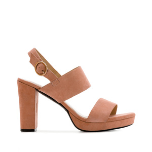 Block Sandals in Coral Suede