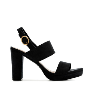 Block Sandals in Black Suede