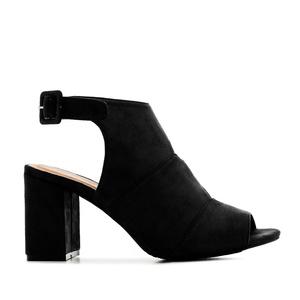 Semišová obuv, uzavřený nárt, otevřená pata. Černá.