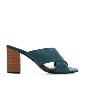 Criss-cross Mules in Blue Suede