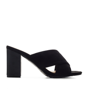 Criss-cross Mules in Black Suede