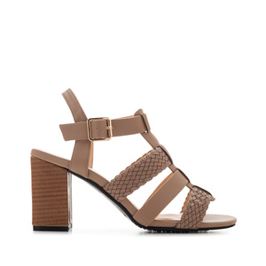 T-Bar Roman Sandals in Light Brown faux Leather