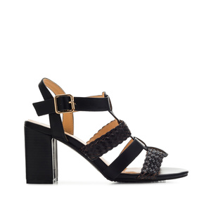 T-Bar Roman Sandals in Black faux Leather