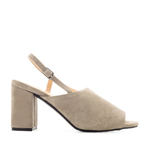 Slingback Block Sandals in Grey Suede
