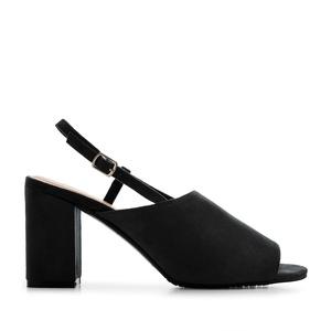 Slingback Block Sandals in Black Suede