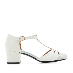 Charleston Shoes in White & Silver faux Leather