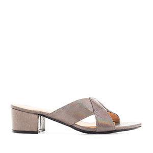 Cross-band Mules in Iridescent Grey faux Leather