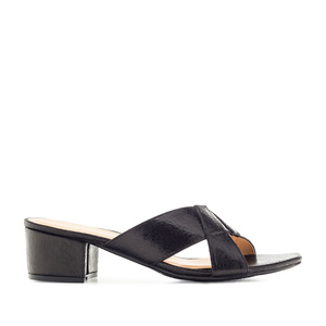 Cross-band Mules in Iridescent Black faux Leather