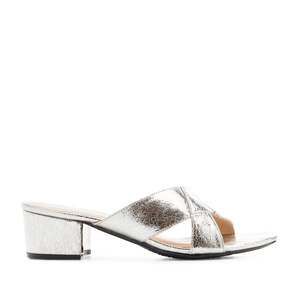 Cross-band Mules in Iridescent Silver faux Leather