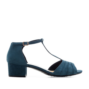 T-Bar Sandals in Blue Suede