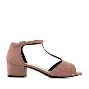 T-Bar Sandals in Nude Suede
