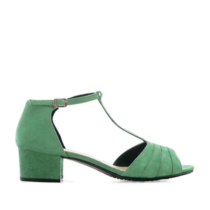 T-Bar Sandals in Green Suede