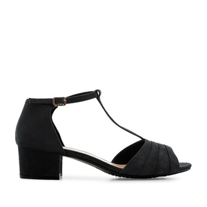 T-Bar Sandals in Black Suede