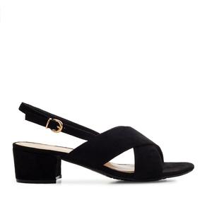 Semišové sandále, křížené široké pásy. Černé.