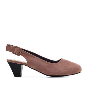 Slingback Shoes in Nude Suede