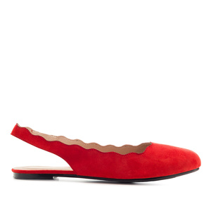Wavy Slingback Flats in Red Suede