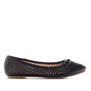 Ballerinas mit Perforationen in Soft-Schwarz