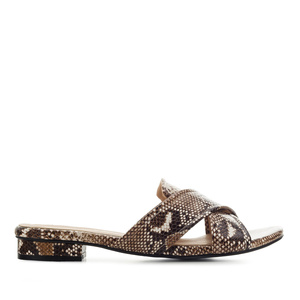 Criss-Cross Flat Sandals in Brown Snake Print