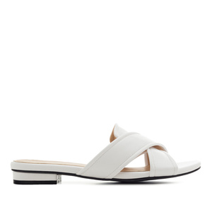 Criss-Cross Flat Sandals in White faux Leather