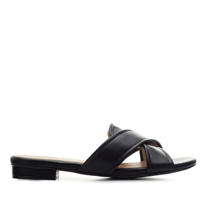 Criss-Cross Flat Sandals in Black faux Leather
