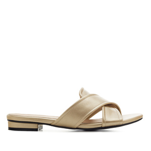 Criss-Cross Flat Sandals in Gold faux Leather