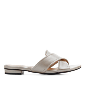Criss-Cross Flat Sandals in Silver faux Leather